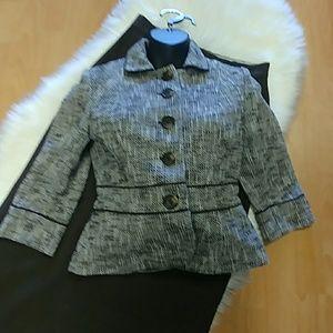 Loft Petites ☕ & Cream Tweed Blazer-0P